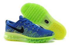 best service f635b a3be0 Nike Flyknit Air Max Australia Mens Running Shoes Royal Blue Neon Green For  Sale