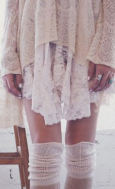 I love these lacy layers! I would totally rock this look off, maybe not pull it off fashion style wise, but totally rock it.
