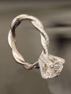 gorgeous twisted princess cut engagement ring