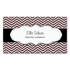 Pink and Black Chevron Classy Business Cards