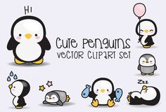 Prime Vector Clipart  Kawaii pingouins  manchots mignons | Etsy
