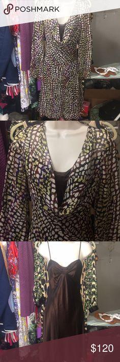 Diane Von Furstenberg Sheer Silk Slip Dress Has a brown Silk under slip and then a sheer printed silk over type dress. So beautiful! Diane Von Furstenberg Dresses