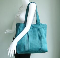 Beautiful color!!!!  Pin tucks really make this bag for me.  Love.  Sale - Teal Hemp/Cotton Tote, carry all, hobo, shoulder bag, laptop, stylish, unique, purse - Simplicity!