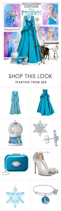 """Halloween Costume-Frozen Elsa"" by prettyasapicture ❤ liked on Polyvore featuring Disney, Naeem Khan, Marchesa, Hallmark, Badgley Mischka, Jimmy Choo and Swarovski"