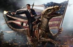This guy's Presidents Series is hilarious.  Ronald Reagan Riding a Velociraptor.  He also has JFK as an astronaut, riding a robotic unicorn on the moon.  Art or comedy?  Maybe both?  Maybe one in the same. $25.00, via Etsy.