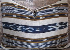 Limited Guatemalan Woven Ikat Pillow Cover Blue by Pillow Cover Design, Pillow Covers, Guatemala, Ikat Pillows, Designer Pillow, Natural Linen, Pillow Inserts, Cotton Linen, Blue Stripes