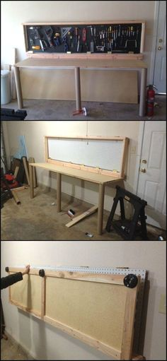 Woodworking Garage Dust Collector How To Build A Wall-Mounted Folding Workbench. Garage Dust Collector How To Build A Wall-Mounted Folding Workbench. Workbench Plans Diy, Workbench Organization, Building A Workbench, Workbench Designs, Folding Workbench, Woodworking Workbench, Workbench Top, Industrial Workbench, Workshop Organization