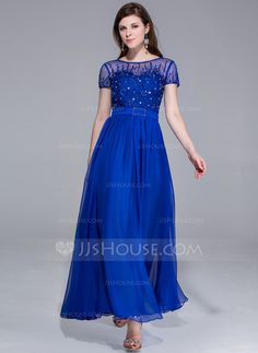 Evening Dresses - $150.49 - A-Line/Princess Scoop Neck Ankle-Length Chiffon Charmeuse Evening Dress With Beading (017025438) http://jjshouse.com/A-Line-Princess-Scoop-Neck-Ankle-Length-Chiffon-Charmeuse-Evening-Dress-With-Beading-017025438-g25438