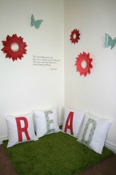 Reading Corner Series - Dimensional Wall art - cute for schools, after school care programs, shelters, etc. I really want this in my classroom this year! Classroom Setting, Classroom Setup, Classroom Design, Classroom Displays, New Classroom, Reading Corner Classroom, Classroom Freebies, Kindergarten Reading, Preschool Kindergarten