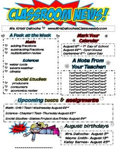 EDITABLE Super Hero Themed Classroom Newsletter!!!