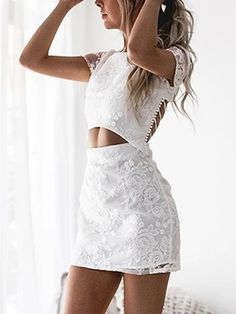 We have fallen hard for the Floral Lace Cutout Waist Criss-cross Back Two Piece Dress Featuring a round neckline, short sleeves, criss-cross back, cutout out waist and an invisible zipper at back. Halter Mini Dress, Ruched Dress, Lace Dress, Lace Sleeves, Dresses With Sleeves, Mini Dresses, Cocktail Bridesmaid Dresses, Different Dresses, Two Piece Dress