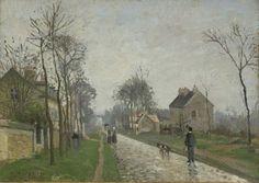 """Route de Versailles, Louveciennes, rain effect"" (1870) By Camille Pissarro (French, 1830-1903) oil on canvas; 40 x 56.2 cm; 15 3/4 x 22 1/8 in."