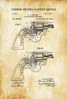 A patent print poster of a Smith and Wesson Revolver Revolver Lock mechanism invented by D. B. Wesson. The patent was issued by the United States Patent Office on May 29, 1894. Daniel Baird Wesson …