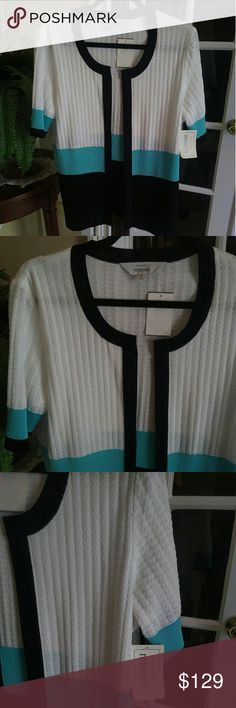 Exclusively Misook Cardigan Jacket NWT M L Beautiful New Short Sleeve By