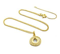 hamsa hand charm necklace in gold plate