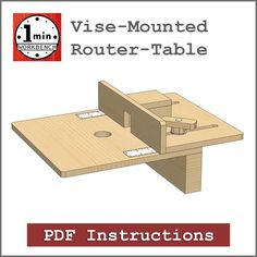 One Minute Workbench Product Sales Icon, Vise-Mounted Router-Table 1 Woodworking Bench Plans, Router Woodworking, Learn Woodworking, Woodworking Projects Diy, Diy Projects, Build A Router Table, Router Accessories, Homemade Tools, Garage