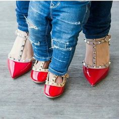 Mommy & daughter in valentino shoes , such a fashionistas