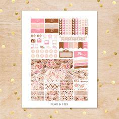 PEACH ROSES Weekly Planner Sticker Kit/Printable Planner