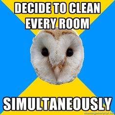 Or: NEED to clean room for an apartment inspection in two days and have zero energy to do so, feel fat and pmdd-y, family is no help, and want to stab people. Yay me.