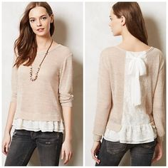 "Anthropologie Clu + Willoughby sweater With a fetching lace hem and charming chiffon bow, you can't help but fall under the spell off this delicate, lace-inset cardi from Clu + Willoughby.{actual color of item may vary slightly from pics}  *shoulders:19"" *chest:19.5"" *waist:18"" *length:21.5""/sleeves:20"" *54%rayon 40%polyester/hand wash  *fit:oversized a bit so could work for small too  *condition:good no rips/stains  20% off bundles of 3/more items No Trades  NO HOLDS No transactions outside…"