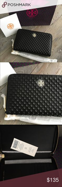 NWT 💯 Tory Burch Marion Wristlet Wallet Brand new with tag, gift bag and gift receipt. Authentic guaranteed. This is the black embossed Marion wallet wristlet by Tory Burch. Strap is detachable. Features card slots and a place for your phone - fits iPhone 6/7 NOT plus. Perfect accessory for on the go. Price is FIRM. MSRP $195 before tax. No trades. Poshmark only! Tory Burch Bags Wallets