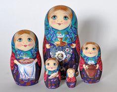 Русская деревянная расписная Матрешка, Русский сувенир, 5 в 1