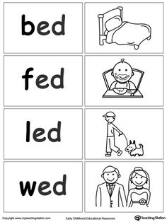 Sort Game: ED Words Word Sort Game: ED Words. Matching words to create a fun learning environment your child will love. These can be used in a game of concentration, or for single player file folder games.Word Sort Game: ED Words. Matching words to create Kindergarten Math Worksheets, Preschool Learning, School Worksheets, Fun Learning, Abc Worksheets, Reading Worksheets, Teaching, Phonics Lessons, Phonics Words