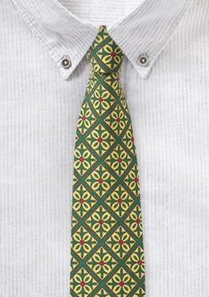 Smaragdgrüne Krawatte mit Kachel-Dekor