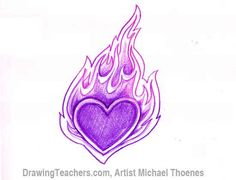 coloring pages of hearts with flames - how to draw a heart with flames cool heart with wings by