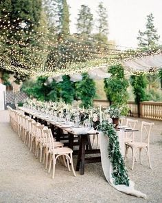 35 Excellent Dreamy Secret Garden Wedding Ideas with Invitations--outdoor wedding reception with hanging string lights and greenery centerpieces, diy wedding decorations examples Reception Table Decorations, Wedding Centerpieces, Wedding Table, Rustic Wedding, Wedding Decorations, Patio Wedding, Tuscan Wedding, Woods Wedding Ceremony, Altar Wedding