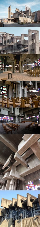 1968-1969 Josef Rikus & Heinz Buchmann - Johannes XXIII Kirche / Cologne Germany / concrete wood / brutalism / religious