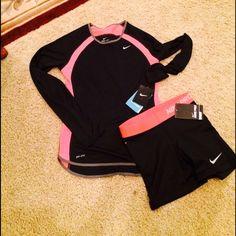 Bundle Nike long sleeve shirt and pro shorts Long sleeve dri fit shirt($38) and Nike pro compression shorts ($35) both size xs Nike Tops