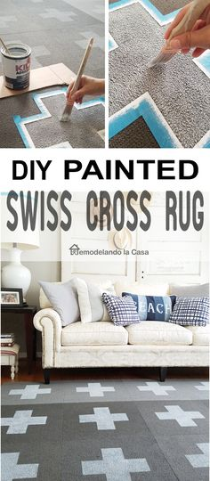 DIY Painted Swiss Cross Rug