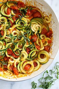 Quick Spiralized Zucchini (Zoodles) and Grape Tomatoes