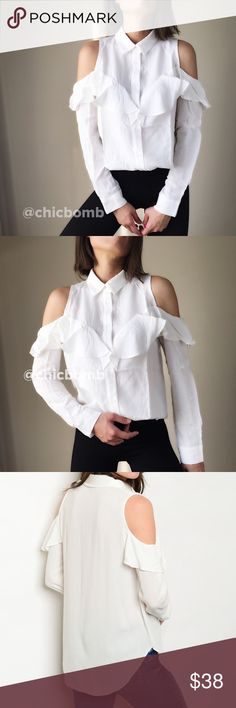 """Olivia ruffle cold shoulder button down  shirt Tasteful Olivia white ruffle cold shoulder shirt. Soft silky top with collar. Size S : bust 36"""", length 27"""" w:38"""". Size M bust 37"""", length 27"""" w: 39"""", size L: bust 38"""", length 28, w40"""". CHICBOMB Tops Button Down Shirts"""