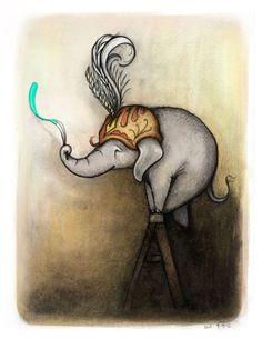"Stella Painting on a Ladder - 8.5"" x 11"" - Elephant Illustration Print. $35.00, via Etsy."