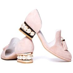 Jeffrey Campbell 'Civil MP pink, pearl cut out suede loafer ($175) ❤ liked on Polyvore featuring shoes, loafers, pink shoes, pink loafers, oxford loafers, flat d orsay shoes and suede loafers
