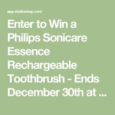 Enter to Win a Philips Sonicare Essence Rechargeable Toothbrush - Ends December 30th at Midnight