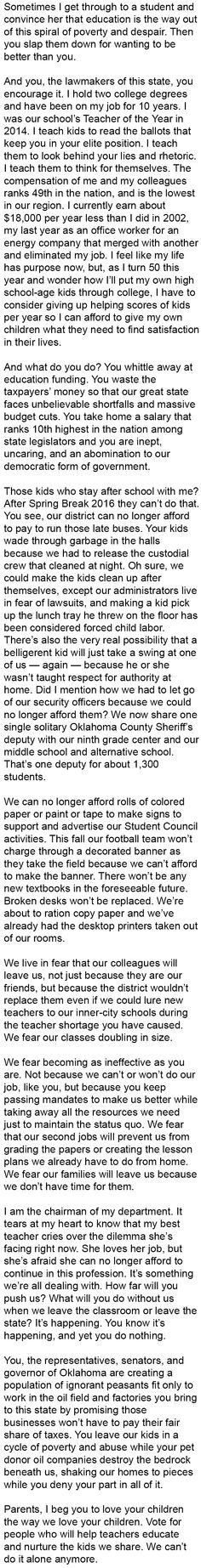Oklahoma Schools are suffering... Read why in this powerful letter from a top high school teacher.