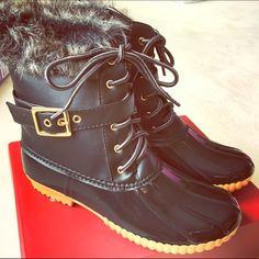 Buckled Fur Duck Boots Waterproof lower. Shoes Winter & Rain Boots