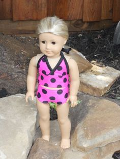 18 Inch American Girl Doll Clothes Pink with Black Polkadot Print Tankini Swimsuit Ready to Ship. $10.00, via Etsy.