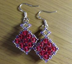 Indian Pink Swarovski Bicone Diamond Beaded Dangle Earrings on Silver Hooks