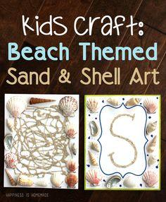 Kids Craft: Summer Beach Themed Sand & Shell Art - Happiness is Homemade Beach Themed Crafts, Sand Crafts, Beach Crafts, Beach Activities, Craft Activities, Motor Activities, Summer Crafts For Kids, Kids Crafts, Preschooler Crafts
