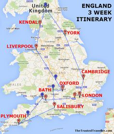 Map of our England 3 Week Itinerary - See the Best of England - The Trusted Traveller My England three week itinerary covers a lot of what England has to offer. It brings together the best so you can get a taste for this beautiful country. England Ireland, England And Scotland, Travel Destinations, Places To Travel, Uk Holidays, European Travel, Travel Europe, Travel To Uk, Travel Tips