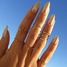 nude chevron nails