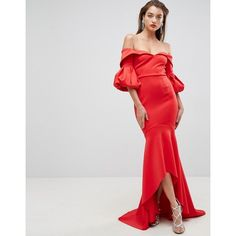 ASOS RED CARPET Scuba Maxi Dress (715 DKK) ❤ liked on Polyvore featuring dresses, red, off-shoulder dresses, red maxi dress, off-shoulder maxi dresses, red prom dresses and body con dress