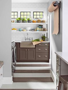 Open shelves put most-used items within reach in our BHG Innovation Kitchen! See the rest of the kitchen here: http://www.bhg.com/kitchen/remodeling/planning/bhg-innovation-kitchen/