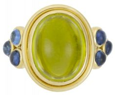 Temple St. Clair 18K St. Paolo Classic Ring with Peridot and Tanzanite Granulation