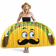 Grande Señor Taco Pool Float, is that you? Sea, sea. Nacho average pool float, he's a supreme 5 feet long! Just inflate it, float across the pool, and take a siesta!