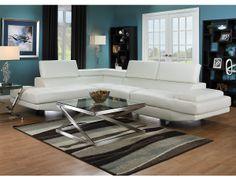 Sofa sectionnel Zane 2 pièces avec fauteuil long de gauche - blanc, (ZANEWLSEC) 1100$